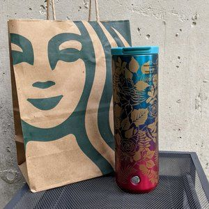 NWT Starbucks Pink Blue Ombre Rose Tumbler Fall